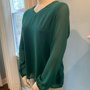 Ming Basics Kelly Green V- Neck Sheer Sleeves